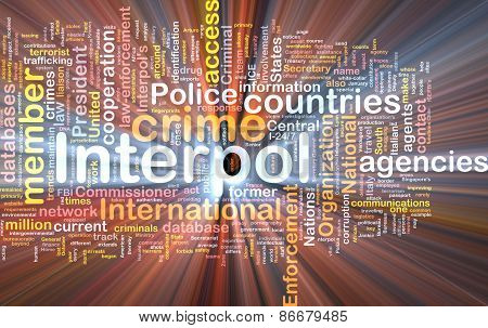 Interpol Background Concept Wordcloud Glowing