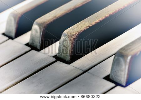 Keys of Very Old Piano with a Vintage feel