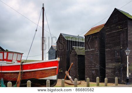 Fishing boats and huts