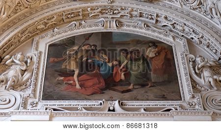 SALZBURG, AUSTRIA - DECEMBER 13: Stations of the Cross, fragment of the dome in Salzburg Cathedral on December 13, 2014 in Salzburg, Austria.
