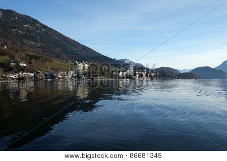 ST. WOLFGANG, AUSTRIA - DECEMBER 14: St. Wolfgang village waterfront at Wolfgangsee lake in Austria on December 14, 2014.