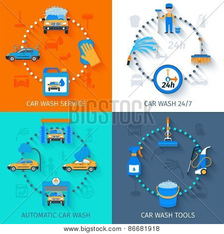 Car wash service  4 icons flat