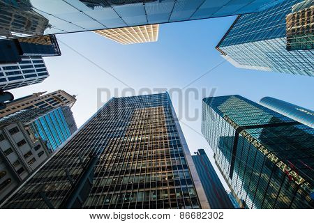 Tall skyscrapers in downtown of Hong Kong