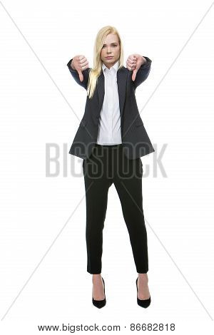 businesswoman thumb down
