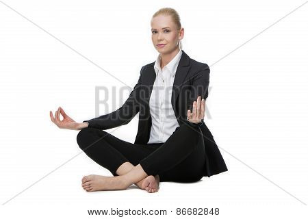 businesswoman in yoga position