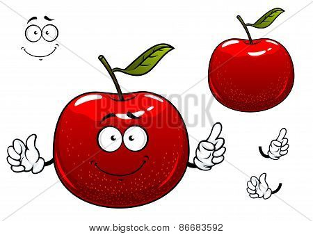 Red crunchy apple fruit cartoon character
