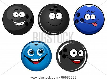 Blue and black bowling balls cartoon characters