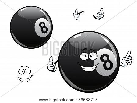 Cartoon billiards, snooker, pool eight ball character