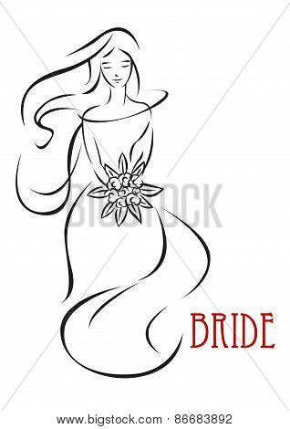 Shy bride with flowers invitation template