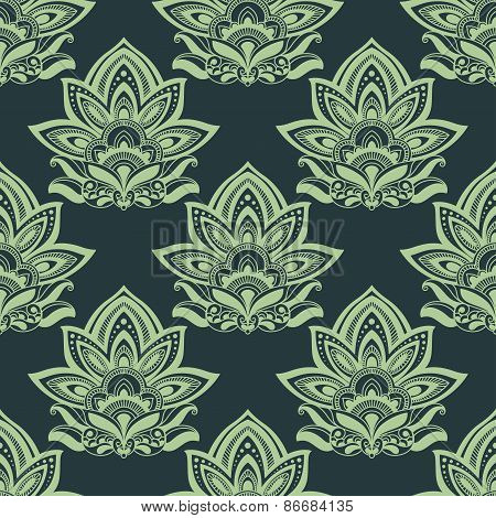 Seamless indian carved paisley green flowers pattern