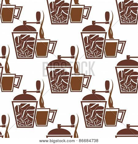 Vintage coffee mills with cups seamless pattern