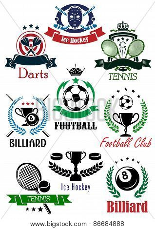 Football, billiards, darts, hockey, tennis logo