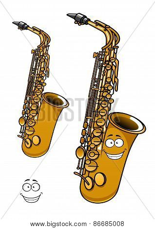 Shining brass saxophone cartoon character