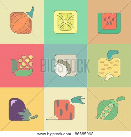 Set of stylized vegetables flat icons isolated on color background