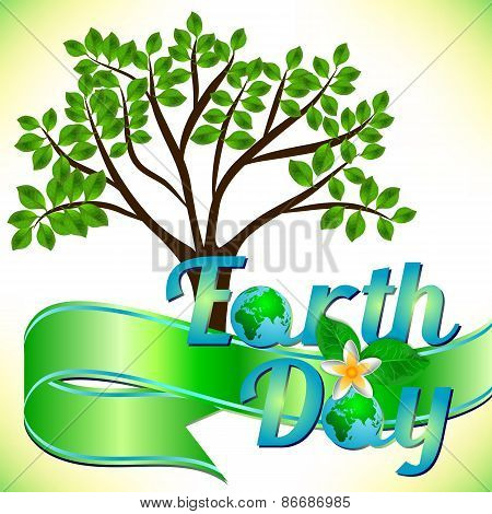 Postcard On April 22 - Earth Day With Green Ribbon And Spring Tree