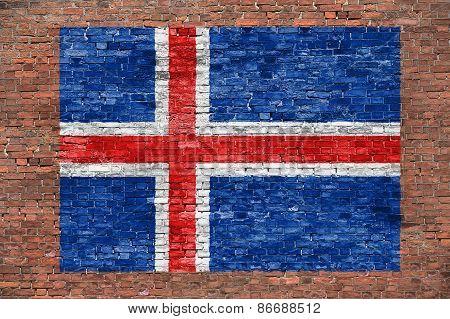 Flag Of Iceland Painted Over Brick Wall