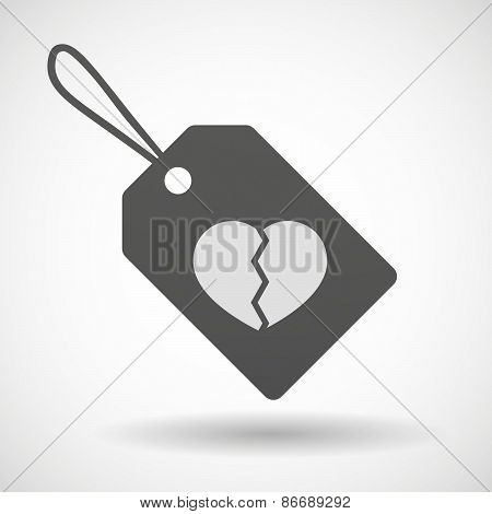 Shopping Label Icon With A Broken Heart