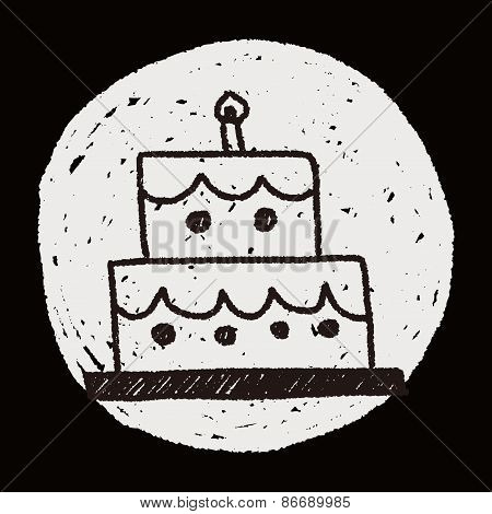 Birthday Cake Doodle Drawing