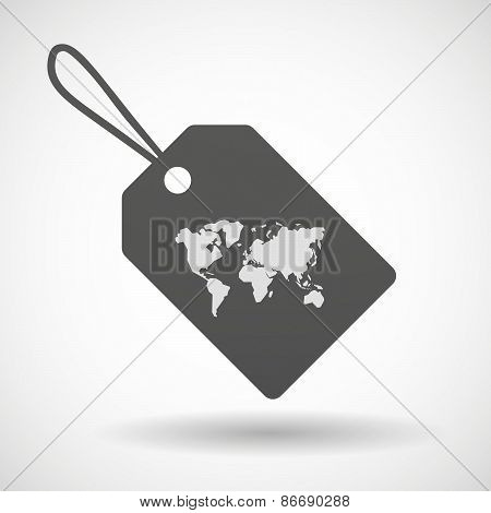 Shopping Label Icon With A World Map