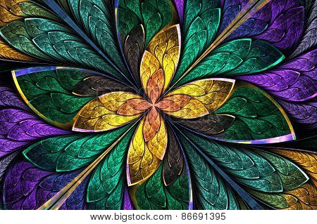 Multicolored Fractal Flower Or Butterfly In Stained-glass Window Style. Computer Generated Graphics.
