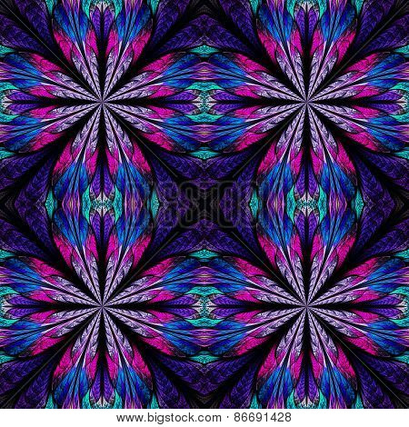 Symmetrical Pattern In Stained-glass Window Style. Blue And Pink Palette. Computer Generated Graphic