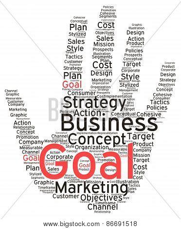 Business Goal Hand Shaped Word Cloud