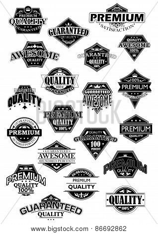 Quality black and white retro labels