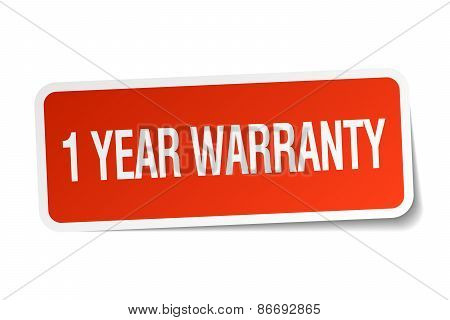 1 Year Warranty Red Square Sticker Isolated On White
