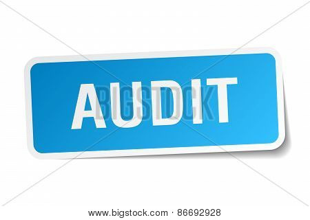 Audit Blue Square Sticker Isolated On White