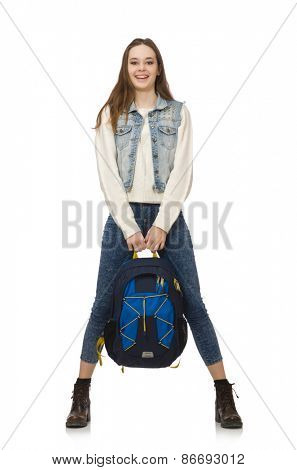 Pretty girl with rucksack isolated on white