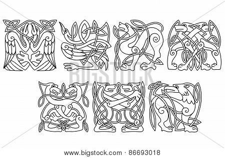 Abstract celtic animals and birds patterns