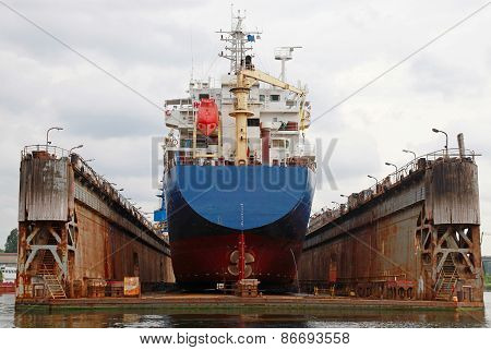 Floating Dry Dock With Blue Industrial Tanker Ship