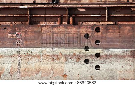 Detailed Old Rusted Barge Hull Background Texture