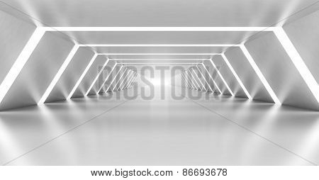 Abstract Illuminated Empty White Corridor Interior