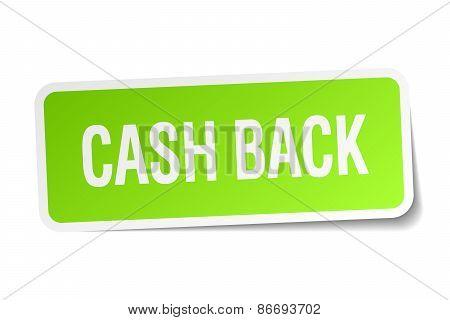 Cash Back Green Square Sticker On White Background