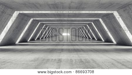 Abstract 3D Illuminated Empty Corridor Interior
