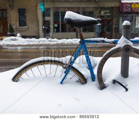 Toronto Bike Lock And Bike In The Winter