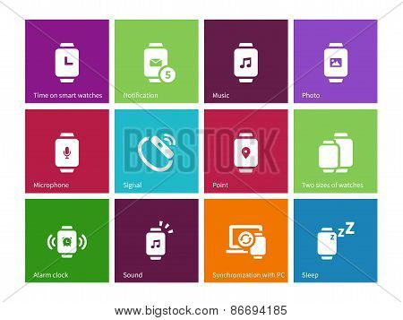 Wireless watch icons on color background.