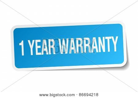 1 Year Warranty Blue Square Sticker Isolated On White