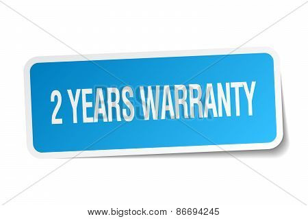2 Years Warranty Blue Square Sticker Isolated On White