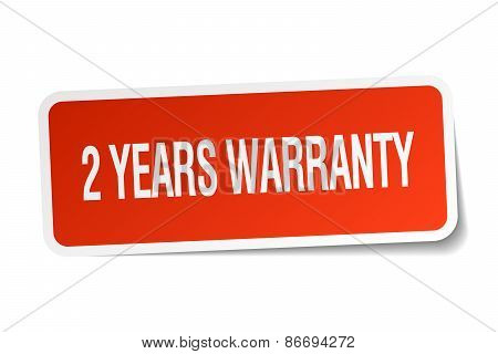 2 Years Warranty Red Square Sticker Isolated On White