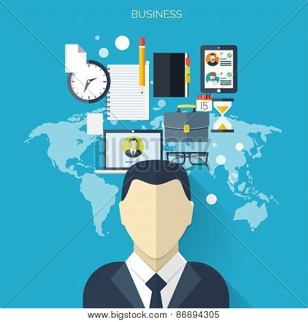 Business flat background with papers.Temwork concept. Global communication and working expierence. B
