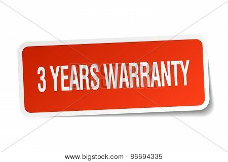 3 Years Warranty Red Square Sticker Isolated On White