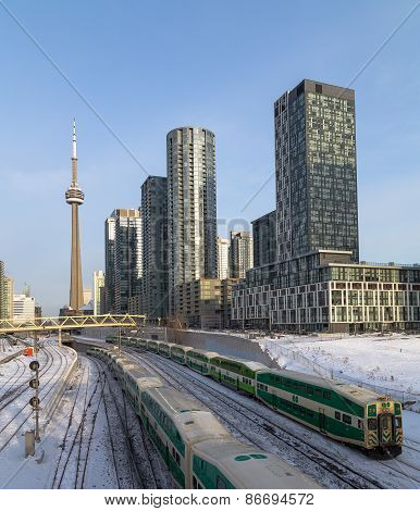 GO Trains in downtown Toronto