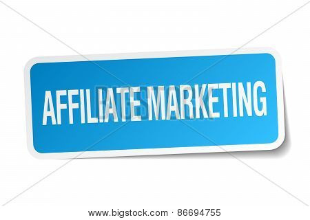 Affiliate Marketing Blue Square Sticker Isolated On White
