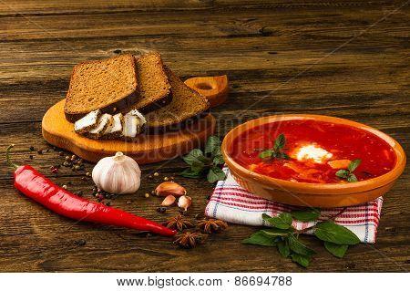 Ukrainian Borsch With Chili Pepper And Garlic