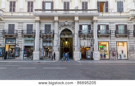 Shops And Buildings In Rome During The Day