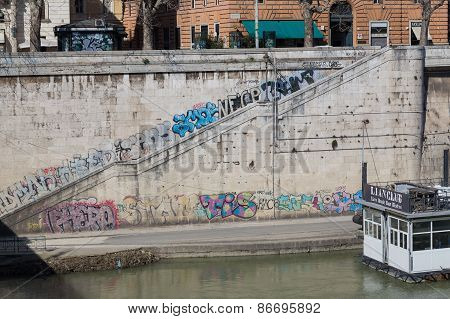 Graffiti Along The River Tiber