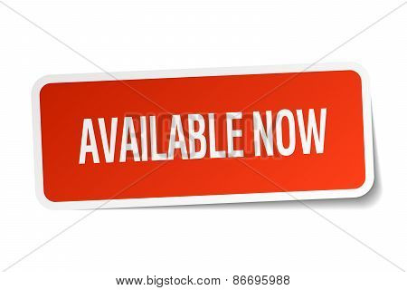 Available Now Red Square Sticker Isolated On White