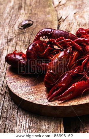 Food. Delicious crayfish on the table